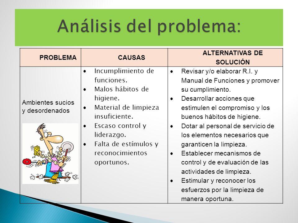 PROBLEMACAUSAS ALTERNATIVAS DE SOLUCIÓN Ambientes sucios y desordenados Incumplimiento de funciones. Malos hábitos de higiene. Material de limpieza in