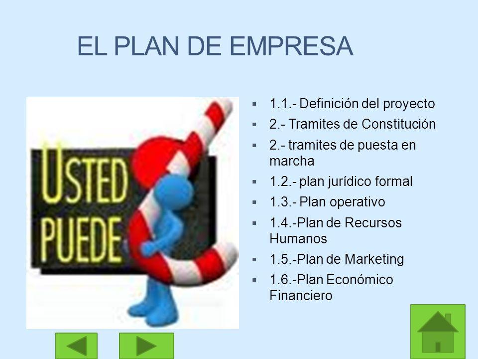 1.1.- Definición del proyecto 2.- Tramites de Constitución 2.- tramites de puesta en marcha 1.2.- plan jurídico formal 1.3.- Plan operativo 1.4.-Plan de Recursos Humanos 1.5.-Plan de Marketing 1.6.-Plan Económico Financiero EL PLAN DE EMPRESA