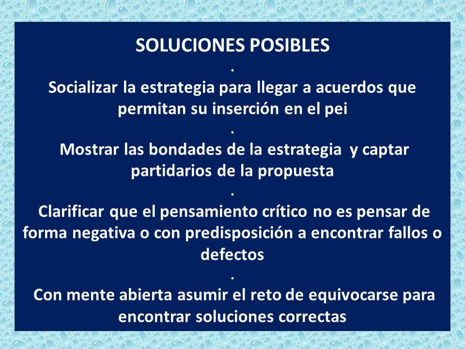 SOLUCIONES POSIBLES. Socializar la estrategia para llegar a acuerdos que permitan su inserción en el pei. Mostrar las bondades de la estrategia y capt
