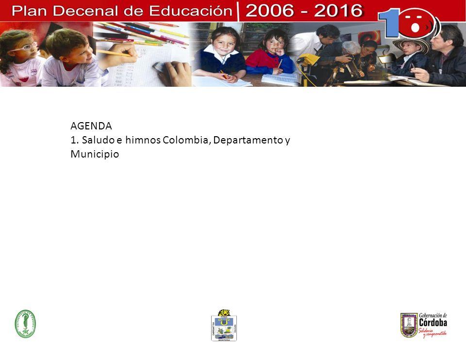 AGENDA 1. Saludo e himnos Colombia, Departamento y Municipio