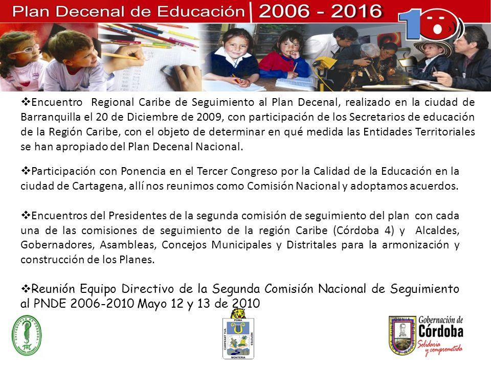 Encuentro Regional Caribe de Seguimiento al Plan Decenal, realizado en la ciudad de Barranquilla el 20 de Diciembre de 2009, con participación de los