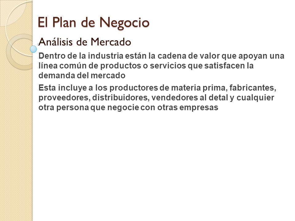 El Plan de Negocio Análisis de Mercado Dentro de la industria están la cadena de valor que apoyan una línea común de productos o servicios que satisfa