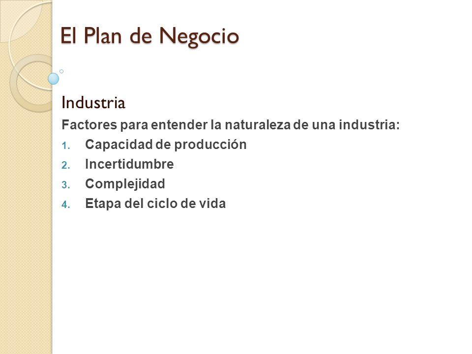 El Plan de Negocio Industria Factores para entender la naturaleza de una industria: 1. Capacidad de producción 2. Incertidumbre 3. Complejidad 4. Etap