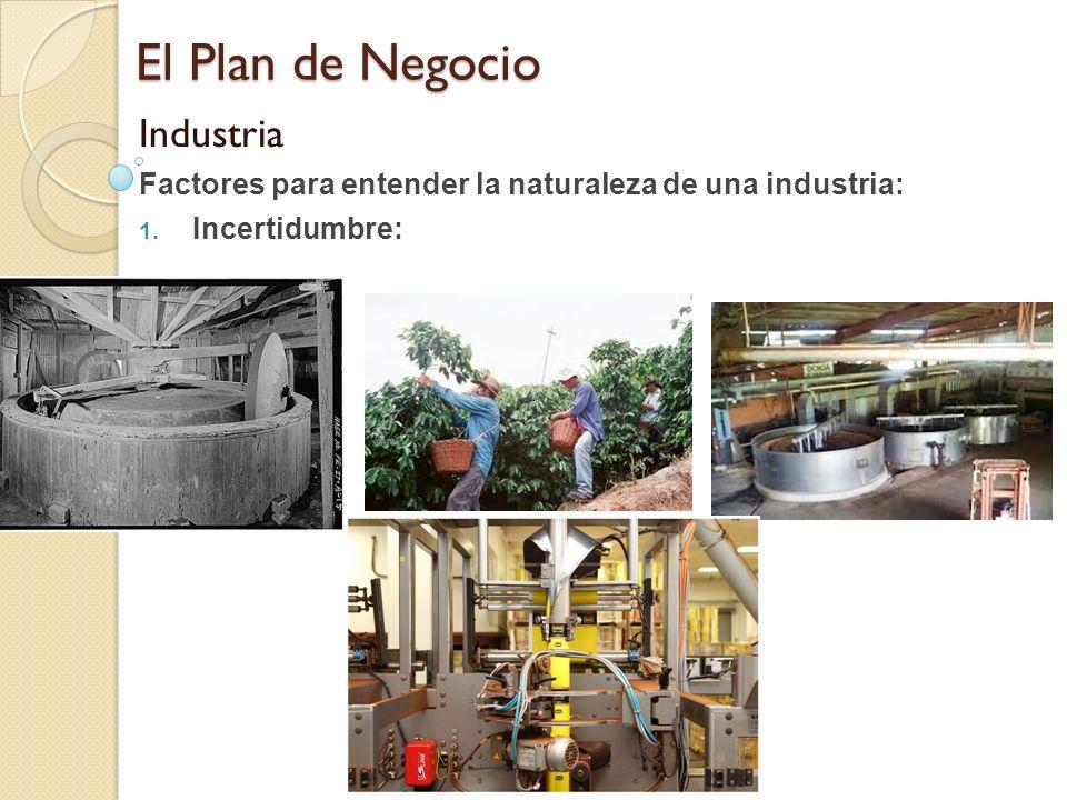El Plan de Negocio Industria Factores para entender la naturaleza de una industria: 1. Incertidumbre:
