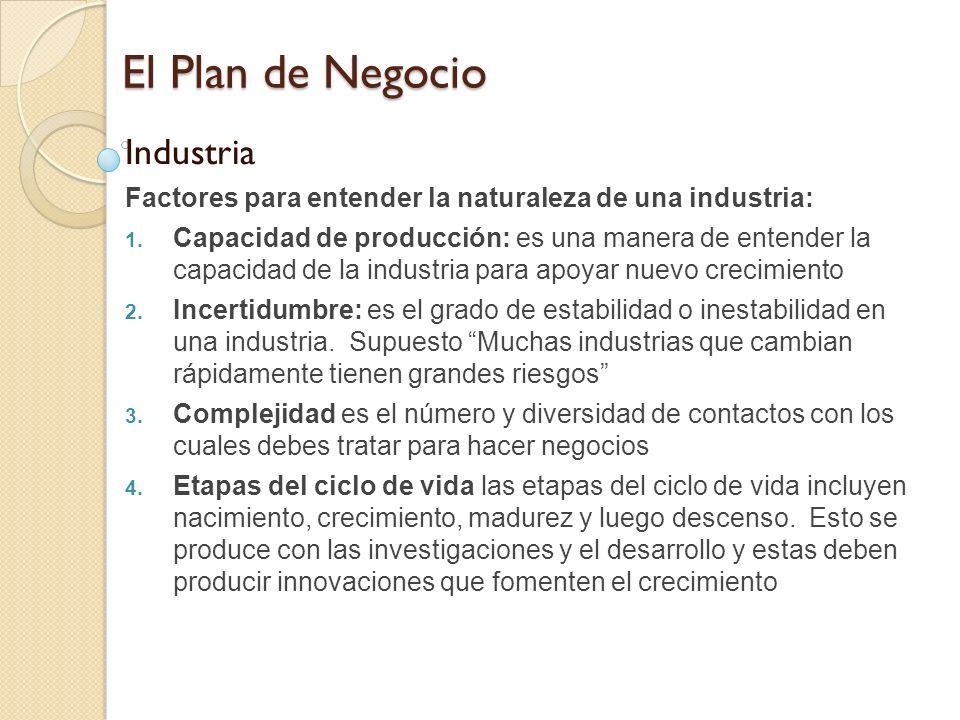 El Plan de Negocio Industria Factores para entender la naturaleza de una industria: 1. Capacidad de producción: es una manera de entender la capacidad