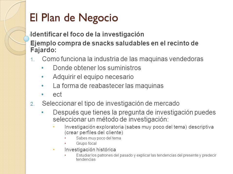 El Plan de Negocio Identificar el foco de la investigación Ejemplo compra de snacks saludables en el recinto de Fajardo: Como funciona la industria de