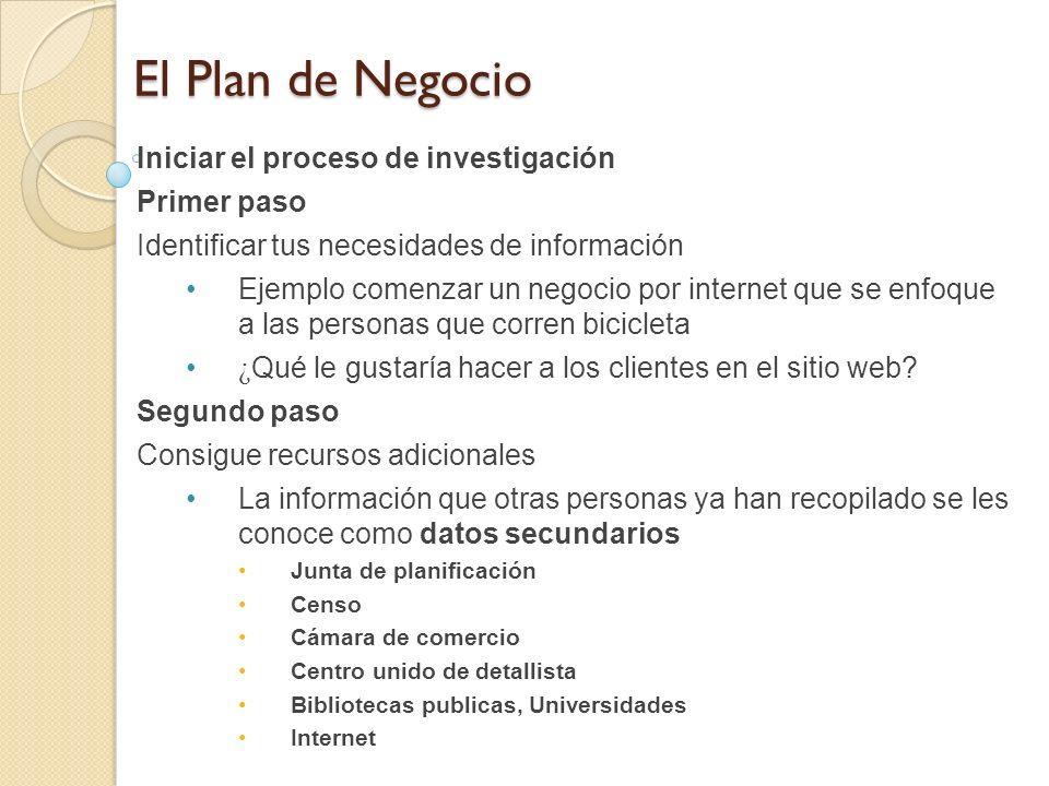 El Plan de Negocio Iniciar el proceso de investigación Primer paso Identificar tus necesidades de información Ejemplo comenzar un negocio por internet