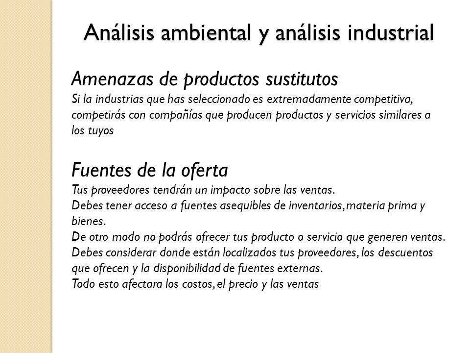 Análisis ambiental y análisis industrial Amenazas de productos sustitutos Si la industrias que has seleccionado es extremadamente competitiva, competi