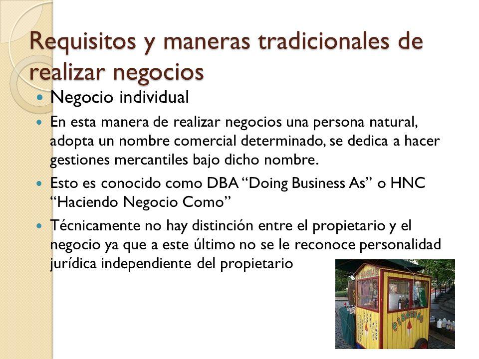 Negocio individual En esta manera de realizar negocios una persona natural, adopta un nombre comercial determinado, se dedica a hacer gestiones mercan