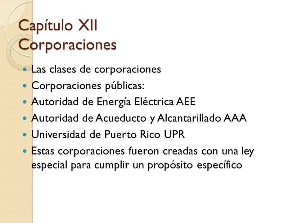 Las clases de corporaciones Corporaciones públicas: Autoridad de Energía Eléctrica AEE Autoridad de Acueducto y Alcantarillado AAA Universidad de Puer