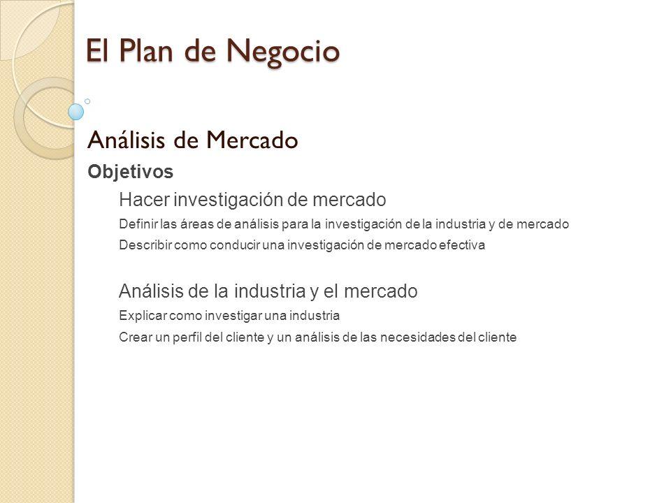 El Plan de Negocio Análisis de Mercado Objetivos Hacer investigación de mercado Definir las áreas de análisis para la investigación de la industria y
