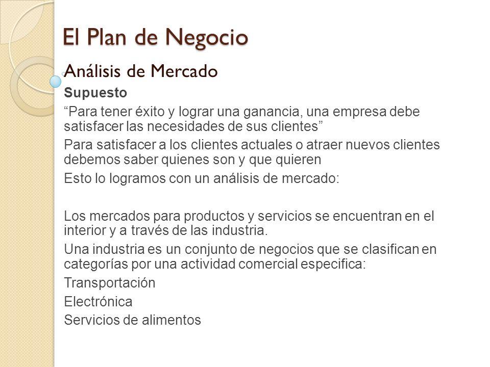 El Plan de Negocio Análisis de Mercado Supuesto Para tener éxito y lograr una ganancia, una empresa debe satisfacer las necesidades de sus clientes Pa