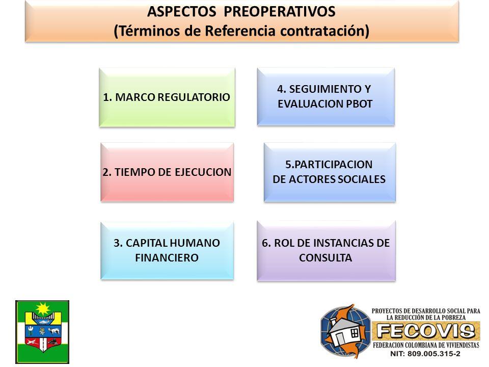 ASPECTOS PREOPERATIVOS (Términos de Referencia contratación) ASPECTOS PREOPERATIVOS (Términos de Referencia contratación) 1. MARCO REGULATORIO 2. TIEM