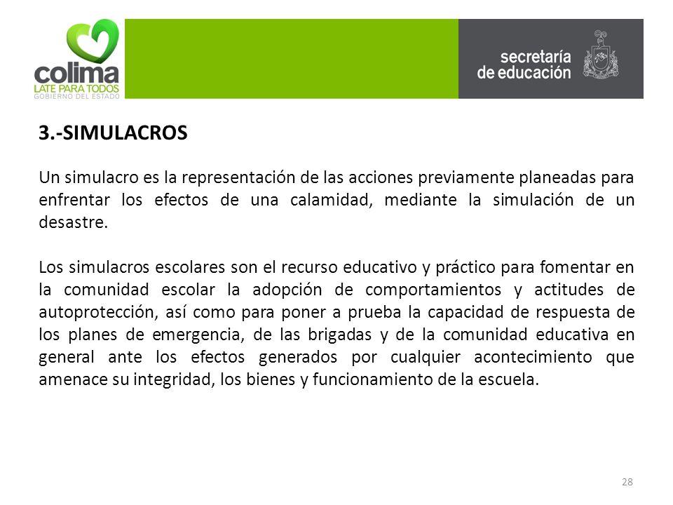 28 3.-SIMULACROS Un simulacro es la representación de las acciones previamente planeadas para enfrentar los efectos de una calamidad, mediante la simulación de un desastre.