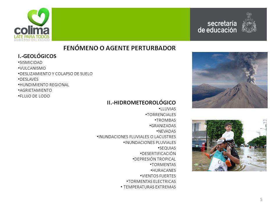 III.-ORIGEN QUÍMICO INCENDIOS EXPLOSIONES RADIACIONES IV.-ORIGEN SANITARIO CONTAMINACIÓN EPIDEMIAS PLAGAS LLUVIA ÁCIDA V.-ORIGEN SOCIO-ORGANIZATIVO PROBLEMAS PROVOCADOS POR CONCENTRACIONES MASIVAS DE POBLACIÓN INTERRUPCIÓN Y DESPERFECTO EN EL SUMINISTRO U OPERACIÓN DE SERVICIOS PÚBLICOS Y SISTEMAS VITALES ACCIDENTES FERROVIARIOS ACCIDENTES ÁEREOS ACTOS DE SABOTAJE Y TERRORISMO FENÓMENO O AGENTE PERTURBADOR 6