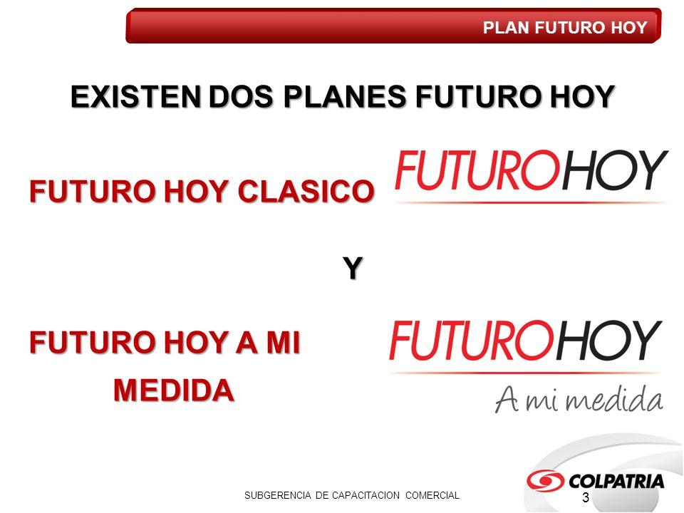 EXISTEN DOS PLANES FUTURO HOY FUTURO HOY CLASICO Y FUTURO HOY A MI MEDIDA MEDIDA SUBGERENCIA DE CAPACITACION COMERCIAL PLAN FUTURO HOY 3