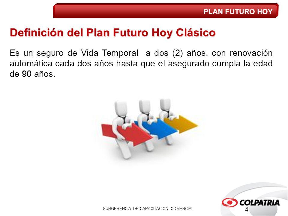 Definición del Plan Futuro Hoy Clásico Es un seguro de Vida Temporal a dos (2) años, con renovación automática cada dos años hasta que el asegurado cumpla la edad de 90 años.