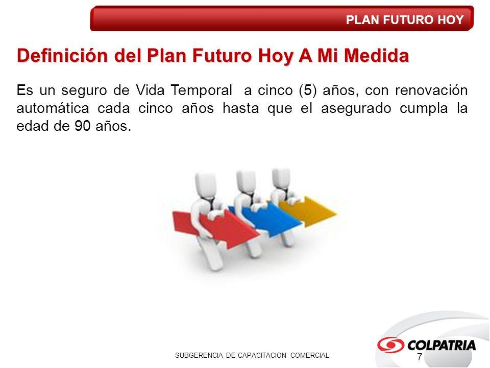 Definición del Plan Futuro Hoy A Mi Medida Es un seguro de Vida Temporal a cinco (5) años, con renovación automática cada cinco años hasta que el asegurado cumpla la edad de 90 años.