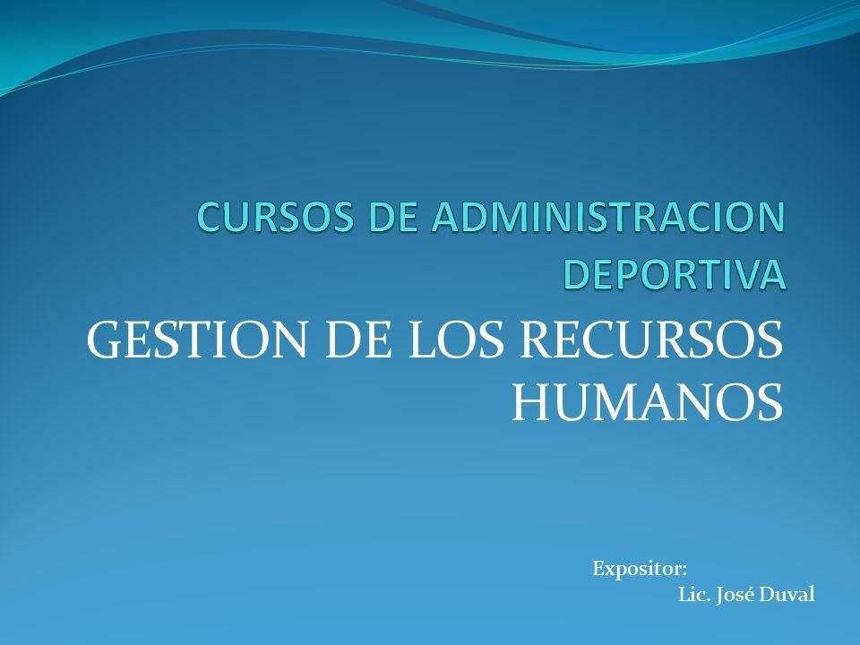 GESTION DE LOS RECURSOS HUMANOS Expositor: Lic. José Duval