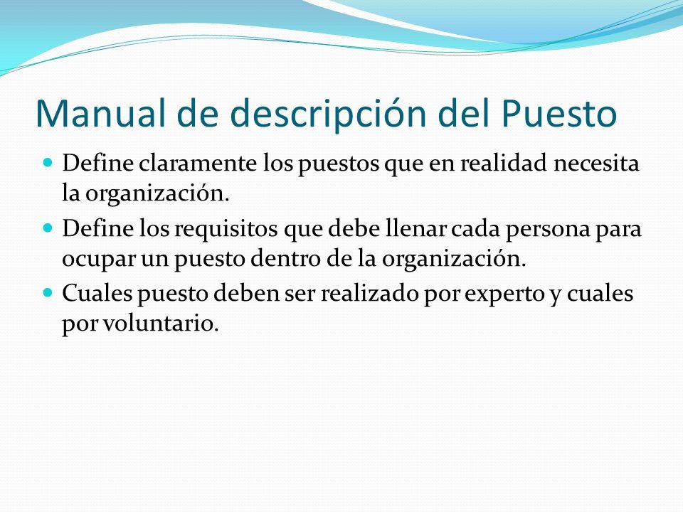 Manual de descripción del Puesto Define claramente los puestos que en realidad necesita la organización. Define los requisitos que debe llenar cada pe