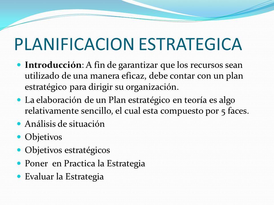 PLANIFICACION ESTRATEGICA Introducción: A fin de garantizar que los recursos sean utilizado de una manera eficaz, debe contar con un plan estratégico