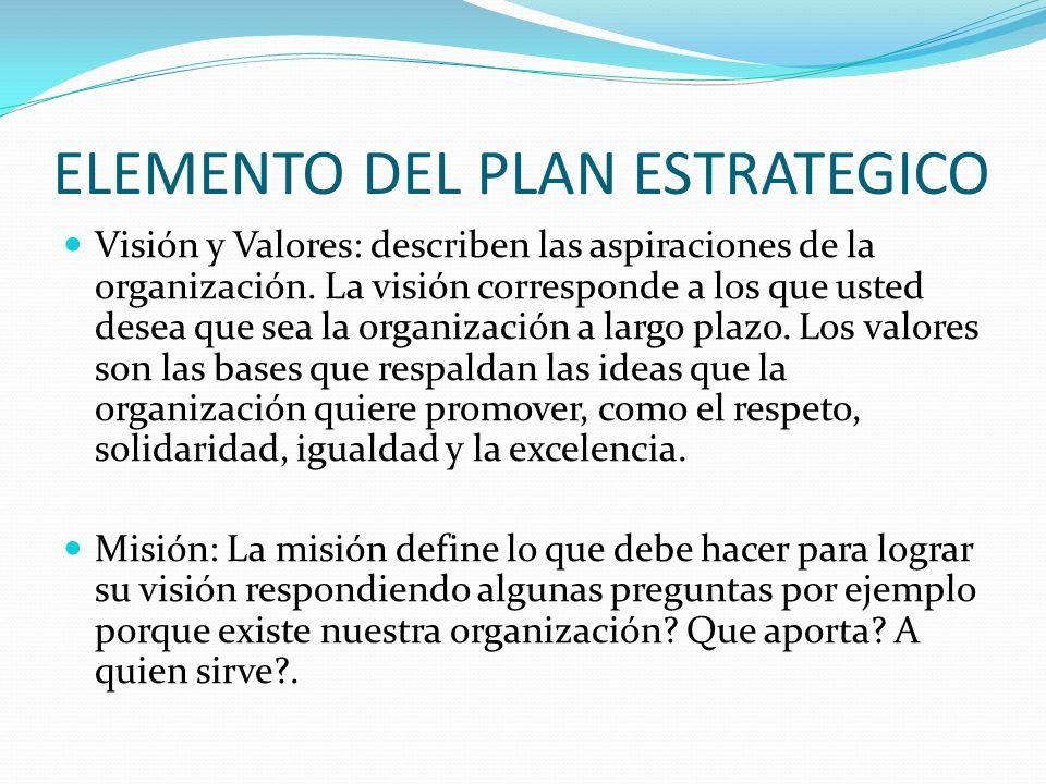 ELEMENTO DEL PLAN ESTRATEGICO Visión y Valores: describen las aspiraciones de la organización. La visión corresponde a los que usted desea que sea la
