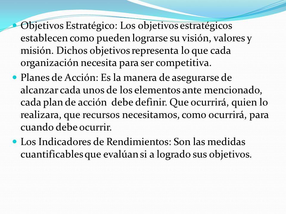 Objetivos Estratégico: Los objetivos estratégicos establecen como pueden lograrse su visión, valores y misión. Dichos objetivos representa lo que cada