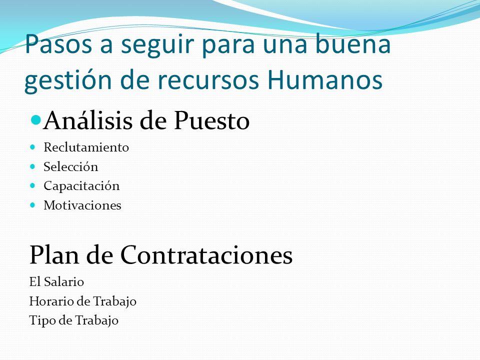 Pasos a seguir para una buena gestión de recursos Humanos Análisis de Puesto Reclutamiento Selección Capacitación Motivaciones Plan de Contrataciones