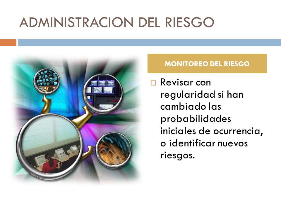 ADMINISTRACION DEL RIESGO Revisar con regularidad si han cambiado las probabilidades iniciales de ocurrencia, o identificar nuevos riesgos. MONITOREO