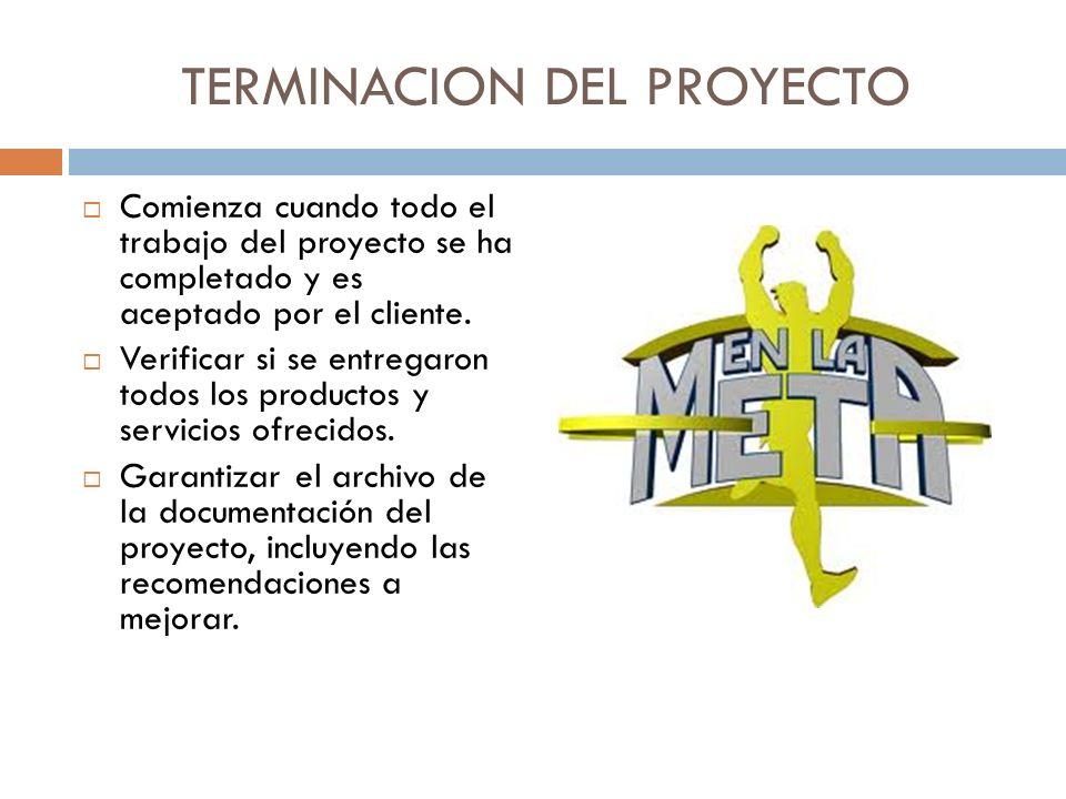 TERMINACION DEL PROYECTO Comienza cuando todo el trabajo del proyecto se ha completado y es aceptado por el cliente. Verificar si se entregaron todos