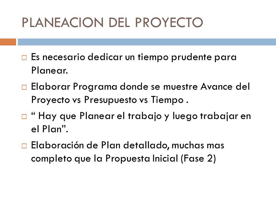 PLANEACION DEL PROYECTO Es necesario dedicar un tiempo prudente para Planear. Elaborar Programa donde se muestre Avance del Proyecto vs Presupuesto vs