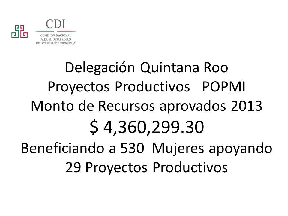 Delegación Quintana Roo Proyectos Productivos POPMI Monto de Recursos aprovados 2013 $ 4,360,299.30 Beneficiando a 530 Mujeres apoyando 29 Proyectos P