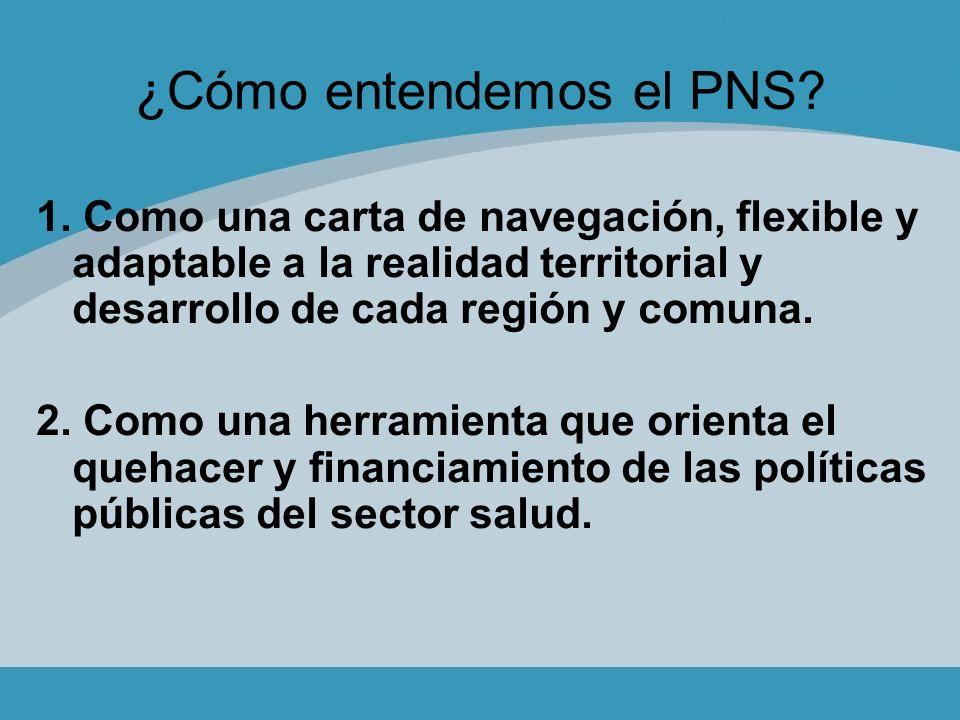 ¿Cómo entendemos el PNS? 1. Como una carta de navegación, flexible y adaptable a la realidad territorial y desarrollo de cada región y comuna. 2. Como