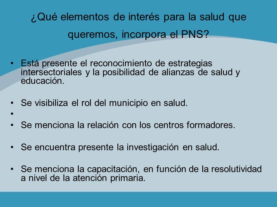 ¿Qué elementos de interés para la salud que queremos, incorpora el PNS? Está presente el reconocimiento de estrategias intersectoriales y la posibilid