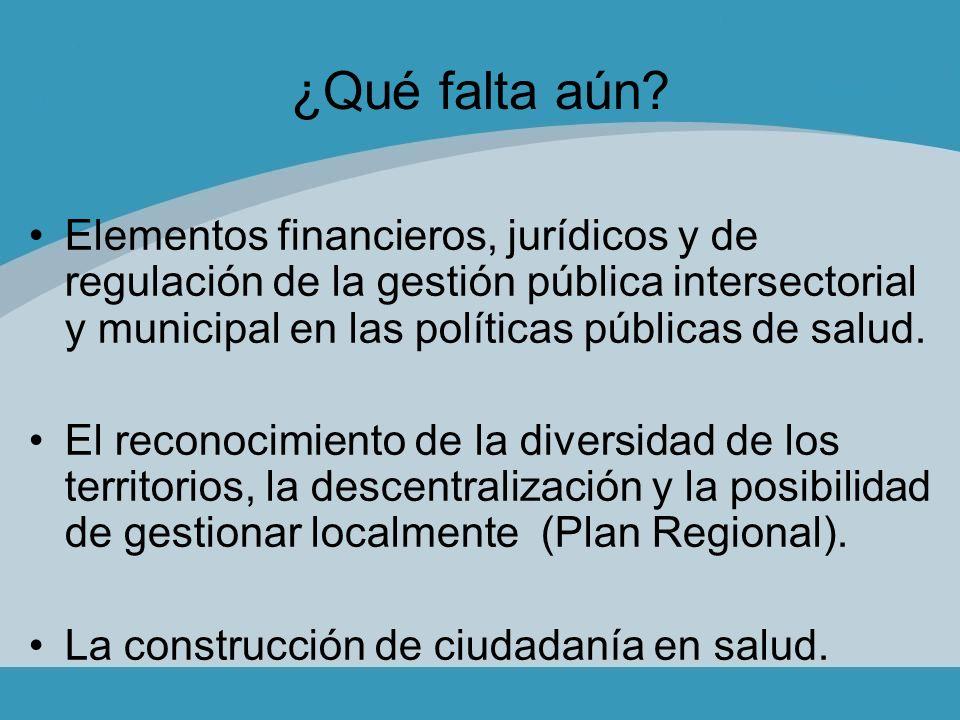 ¿Qué falta aún? Elementos financieros, jurídicos y de regulación de la gestión pública intersectorial y municipal en las políticas públicas de salud.