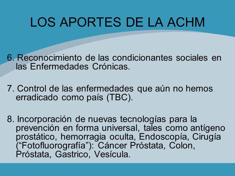 LOS APORTES DE LA ACHM 6. Reconocimiento de las condicionantes sociales en las Enfermedades Crónicas. 7. Control de las enfermedades que aún no hemos