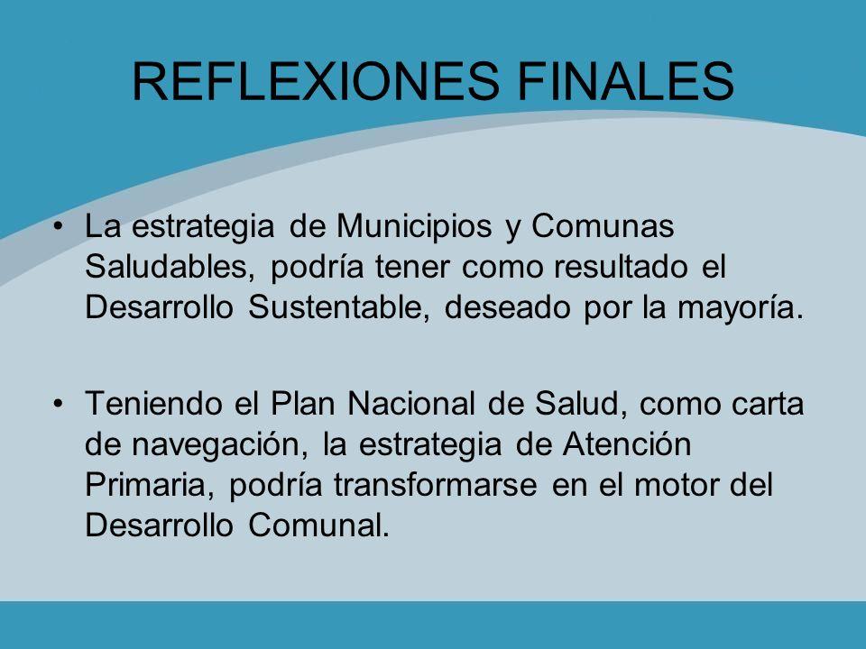 REFLEXIONES FINALES La estrategia de Municipios y Comunas Saludables, podría tener como resultado el Desarrollo Sustentable, deseado por la mayoría. T