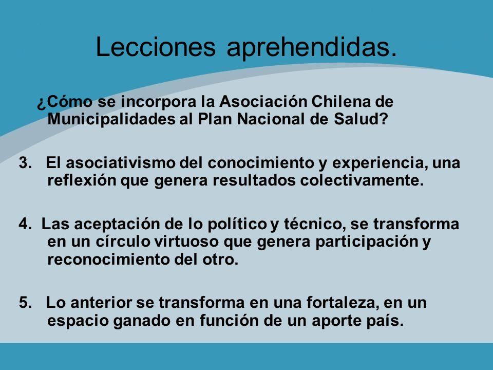 Lecciones aprehendidas. ¿Cómo se incorpora la Asociación Chilena de Municipalidades al Plan Nacional de Salud? 3. El asociativismo del conocimiento y