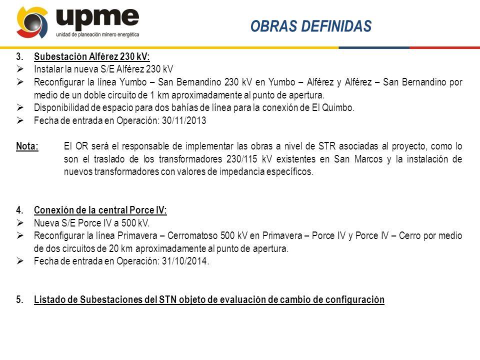 3.Subestación Alférez 230 kV: Instalar la nueva S/E Alférez 230 kV Reconfigurar la línea Yumbo – San Bernandino 230 kV en Yumbo – Alférez y Alférez –