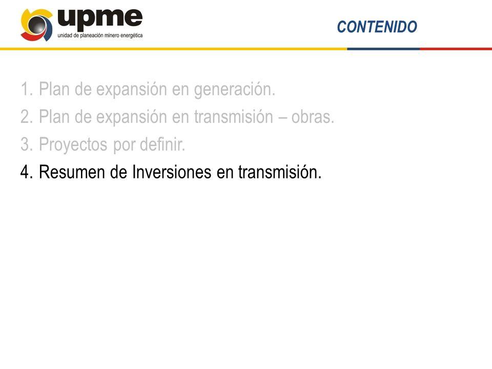 1.Plan de expansión en generación. 2.Plan de expansión en transmisión – obras. 3.Proyectos por definir. 4.Resumen de Inversiones en transmisión. CONTE