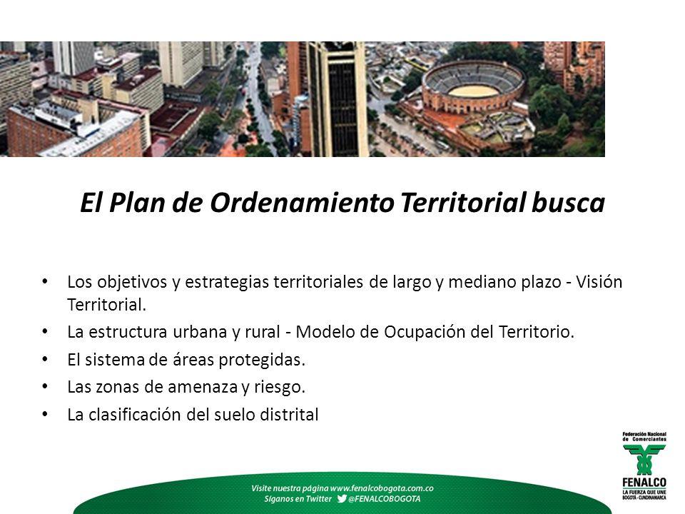 El Plan de Ordenamiento Territorial busca Los objetivos y estrategias territoriales de largo y mediano plazo - Visión Territorial. La estructura urban