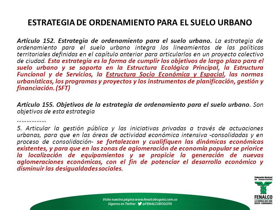 ESTRATEGIA DE ORDENAMIENTO PARA EL SUELO URBANO Artículo 152.