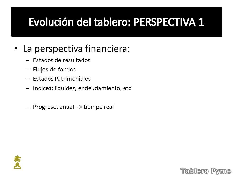 La perspectiva financiera: – Estados de resultados – Flujos de fondos – Estados Patrimoniales – Indices: liquidez, endeudamiento, etc – Progreso: anua