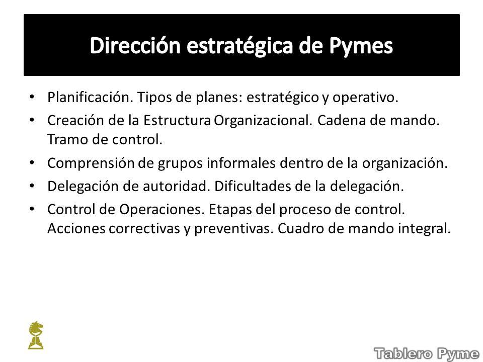 Planificación. Tipos de planes: estratégico y operativo. Creación de la Estructura Organizacional. Cadena de mando. Tramo de control. Comprensión de g