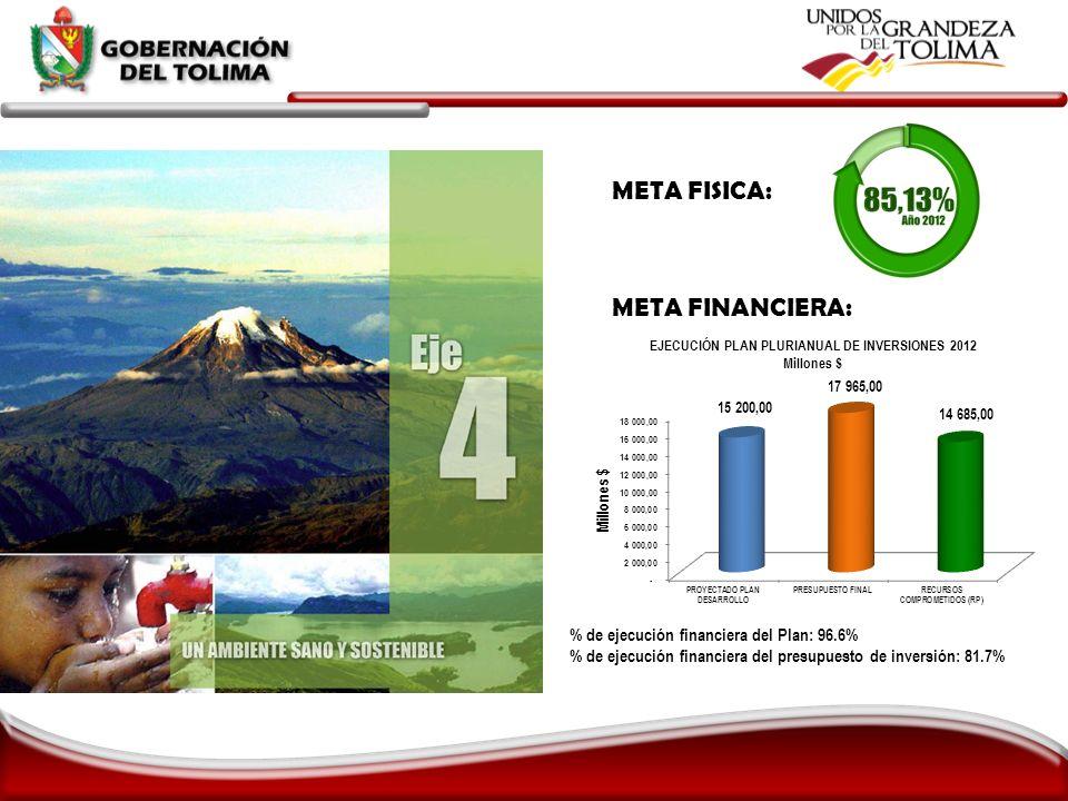 META FISICA: META FINANCIERA: % de ejecución financiera del Plan: 96.6% % de ejecución financiera del presupuesto de inversión: 81.7%