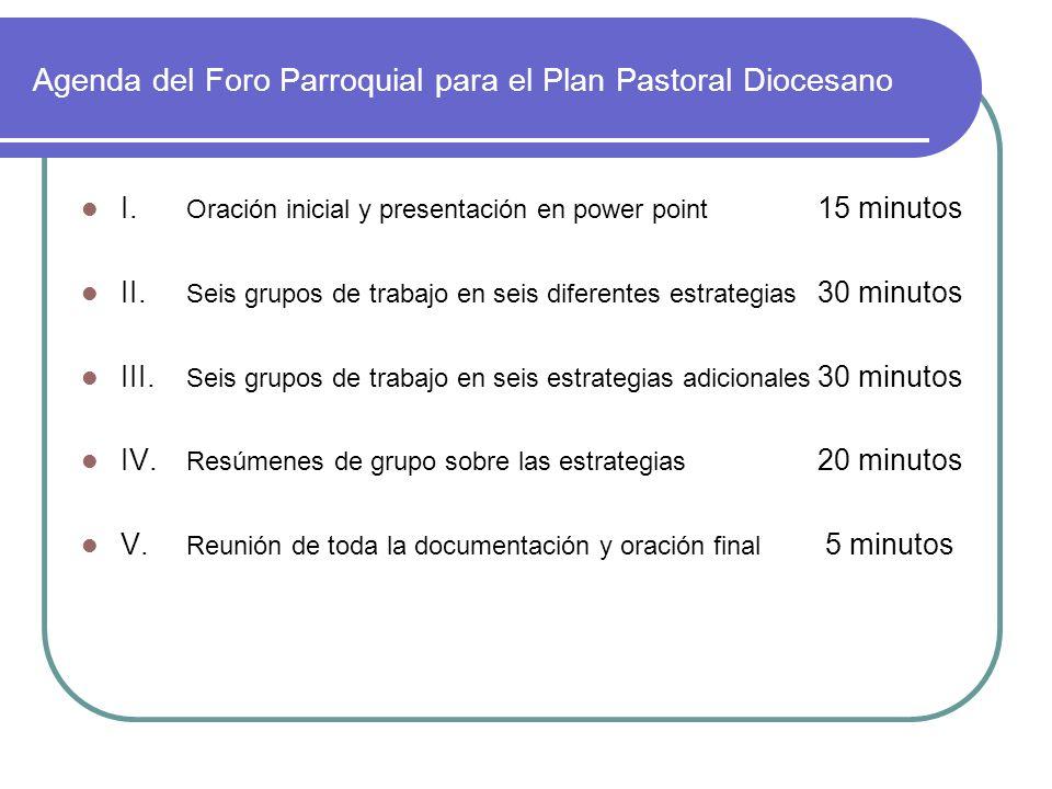 Agenda del Foro Parroquial para el Plan Pastoral Diocesano I. Oración inicial y presentación en power point 15 minutos II. Seis grupos de trabajo en s