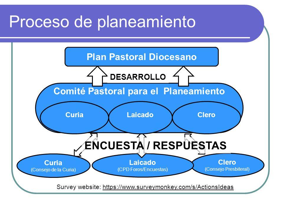 Proceso de planeamiento Plan Pastoral Diocesano Curia (Consejo de la Curia) Clero (Consejo Presbiteral) Laicado (CPD Foros/Encuestas) Comité Pastoral