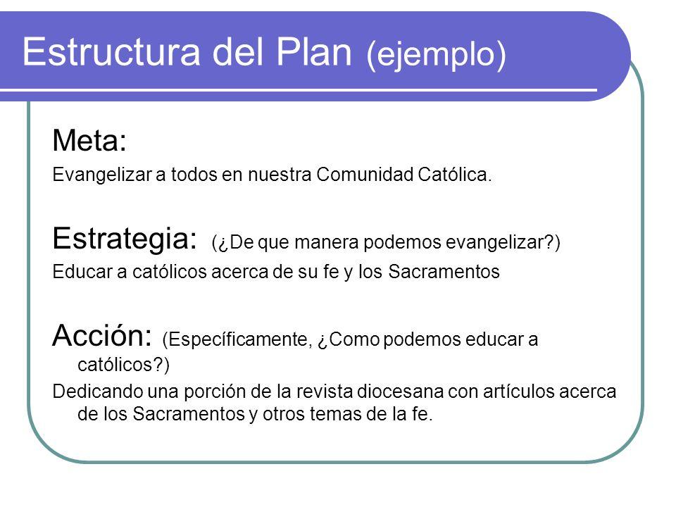 Estructura del Plan (ejemplo) Meta: Evangelizar a todos en nuestra Comunidad Católica. Estrategia: (¿De que manera podemos evangelizar?) Educar a cató