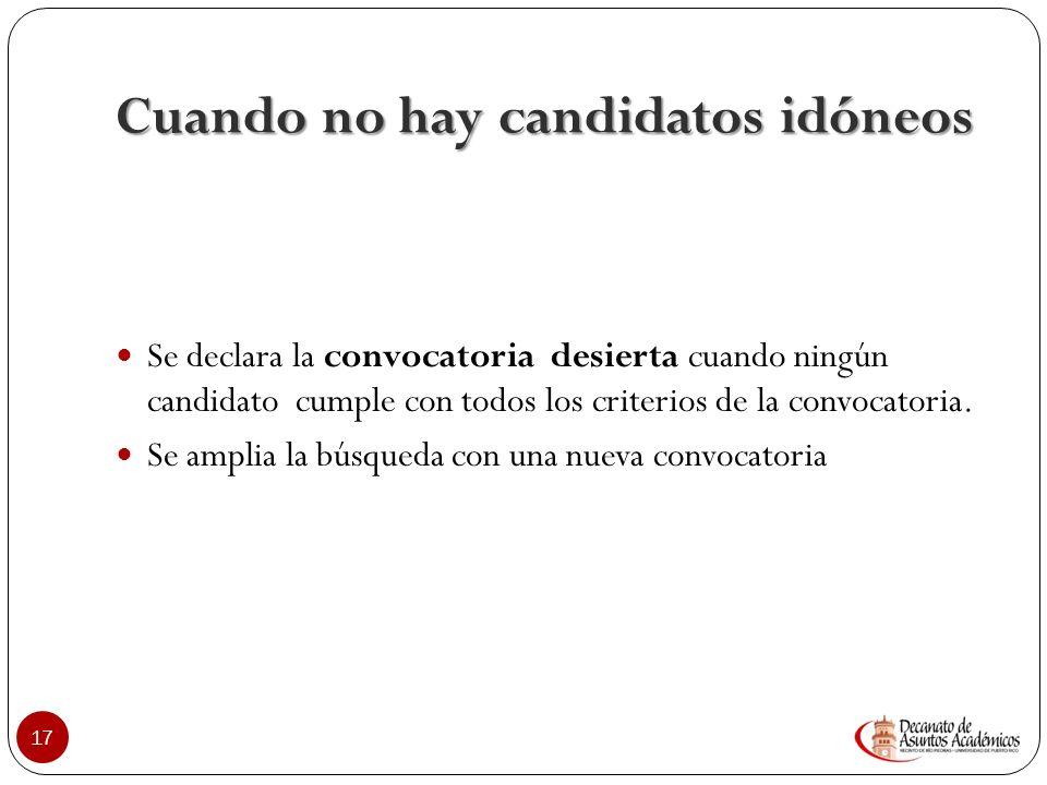 Observaciones sobre la Convocatoria Selección del Candidato más idóneo No va dirigida a la selección del candidato que mejor se acerque, sino al que c