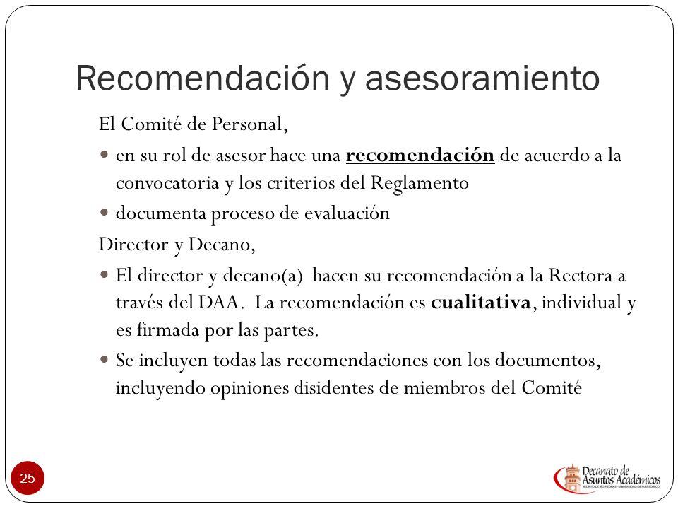 Instancias de Recomendación 24 Comité de Personal Director de Departamento Decano DAA